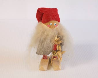 Vintage Swedish Elf - Wooden Gnome Swedish Tomte figurine  - Mid century modern Sweden - 7 inches tall