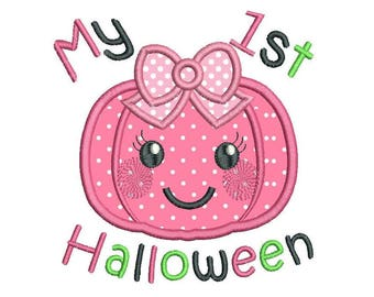 My 1st Halloween Pumpkin Applique Machine Embroidery Design, Cute Pumpkin, Baby Girl Pumpkin Embroidery Design, 4x4, 5x7, 6x10, No: SA504-5