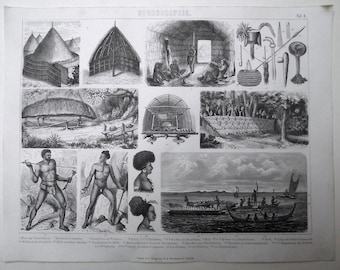 1880 - CANNIBALS Tools Ship NEW CALEDONIA - Original Antique Steel Engraving. Ethnology. Archaeology. History. Social Science