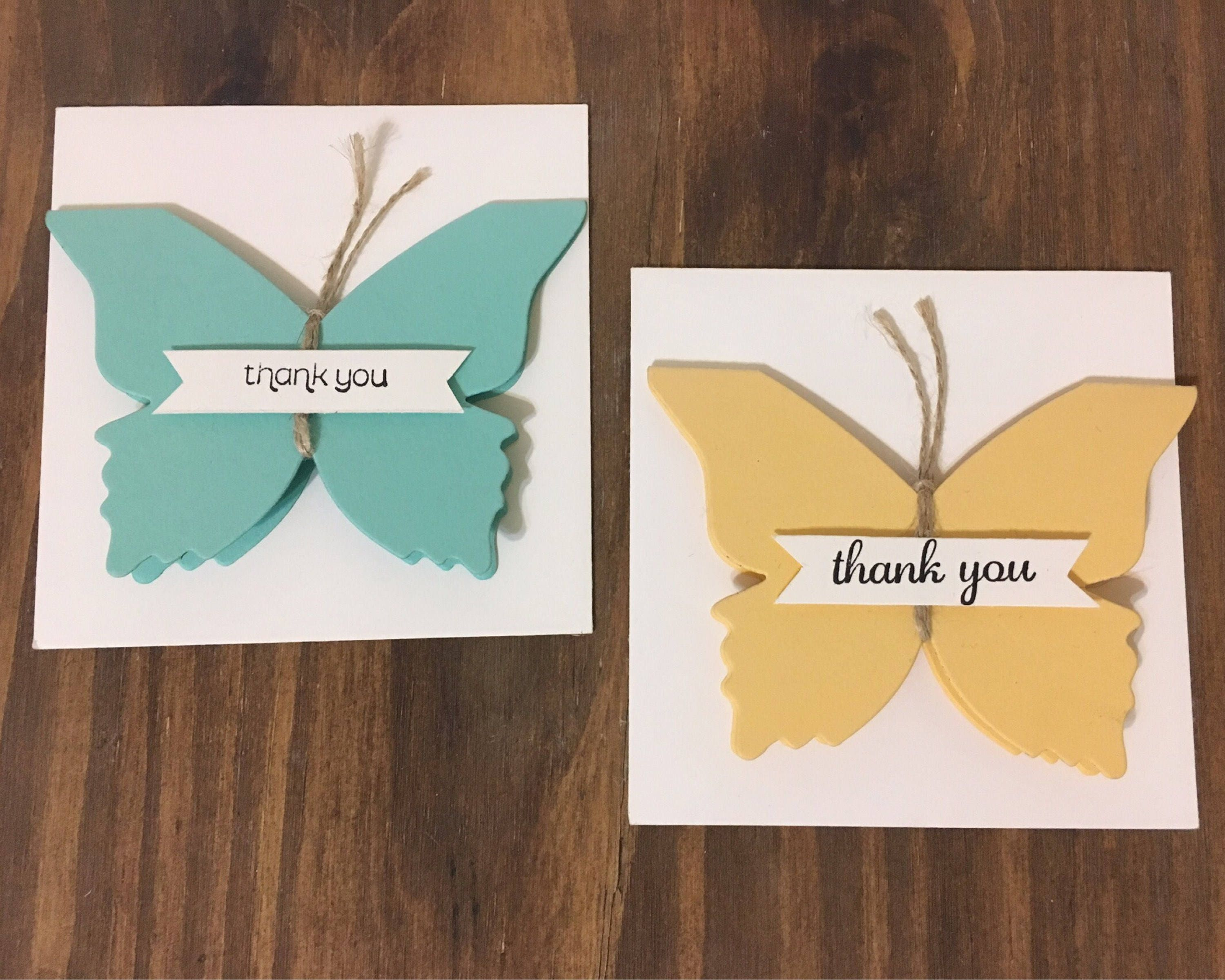 Thank you butterfly mini note card hand stamped greeting card thank you butterfly mini note card hand stamped greeting card thank you card m4hsunfo