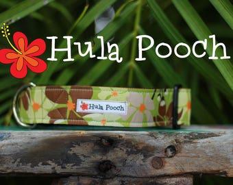 "Dog Collar ""Hippy"" -Turquoise Flower - Medium, Large, Wide, Adjustable // FREE SHIPPING"