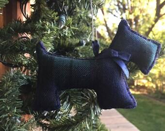 "Scottie Dog Ornament - ""Blackwatch plaid"""