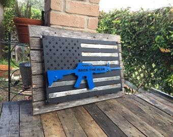 M4 Bold blue line metal flag