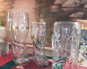 3 German Beer Stein Boot Stein Warsteiner Hackerbrau Munchen DEUTSCHLAND
