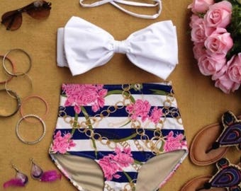 High Waisted Retro Bikini with White Bow Top