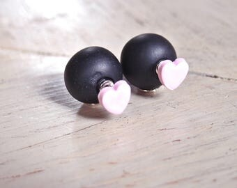 Double pearl black and pink heart earrings, two pearl earrings, women's double pearl earrings, double pearl earrings, heart earrings