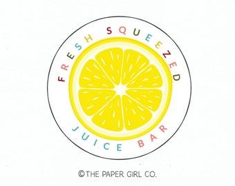 juice bar logo fruit logo grapefruit slice logo lemon slice logo orange slice logo premade logo design food blog logo photography logo