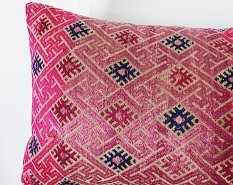 Vintage Pink Chinese Wedding Blanket Embroidery Pillow - Seconds Sale