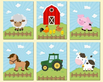 Farm Animals Nursery Prints, Farm Animals Nursery Wall Art, Farm Animals Nursery Decor, DIY Printable, JPEG and PDF files
