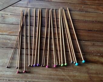 Colorful polka dot 18 pair knitting needles