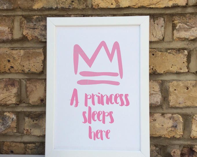 Personalised a princess/prince sleeps here print   quote   Wall prints   Wall decor   Home decor   Print only   Typography