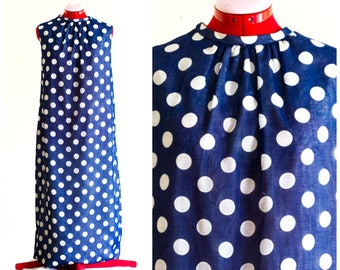 1960s blue with white polka dot maxi dress