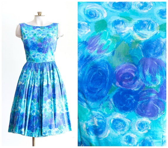 1950s sleeveless fit and flare party dress with blue and purple flower design