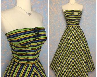 Strapless Vintage 1950's dress 50s sundress retro Home made