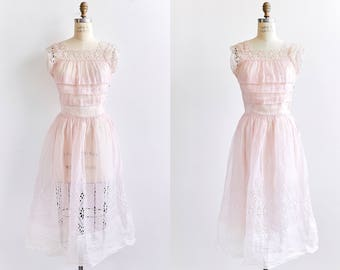 Vintage Summer Dress 40s Party Dress 50s Organdy Eyelet OOAK