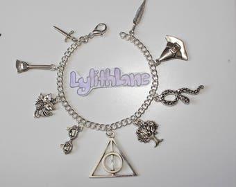 Harry Potter Inspired silver Charm bracelet