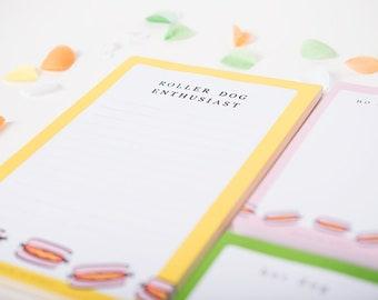 Large Fridge Notepad, Hot Dog Illustration, Modern Stationery, Magnetic List, Gift for Friend, Roller Dog Lover, Grocery List, Kitchen Notes