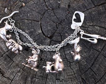 Susan Cummings huge mama baby sterling silver animal charm bracelet, rare, large and wonderful.