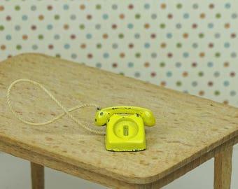 Dollhouse vintage Lundby telephone 1970s yellow metal