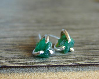 Raw Genuine Emerald Earrings, Rough Emerald Jewelry for Woman, May Birthstone, Christmas for Women, Luxury Jewelry, Gift for Her, Wifes Gift
