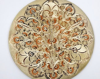 Portugal Etched Copper Wall Plaque with Floral Design