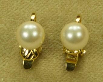 Clip On Trifari Goldtone Pearl Earrings
