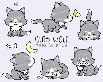 Premium Vector Clipart - Kawaii Wolf - Cute Wolves Clipart Set - High Quality Vectors - Instant Download - Kawaii Clipart