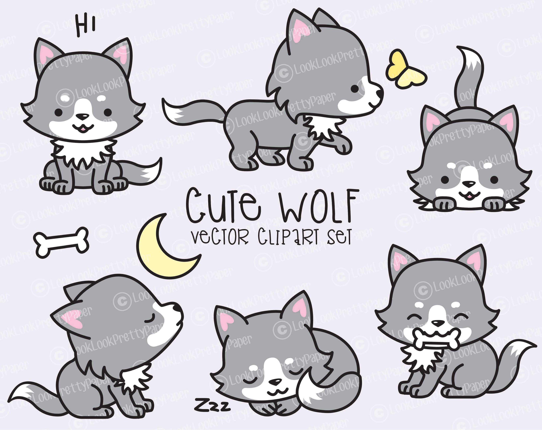 Premium Vector Clipart Kawaii Wolf Cute Wolves Clipart Set - photo#21