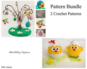 Easter crochet pattern bundle Willow tree Crochet baby chick Crochet eggs Crochet Easter pattern Amigurumi chicks  Digital download