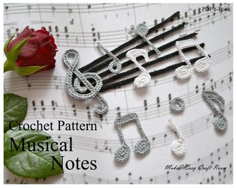 Musical note crochet pattern Crochet 6 notes Quarter note Half note Whole note Eighth note Beamed note Treble clef applique Digital download