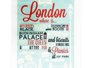 Welcome to London - Large Cotton Tea Towel