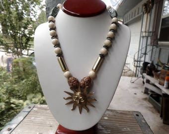 """Celestial Sun Pendant beaded necklace 20"""""""