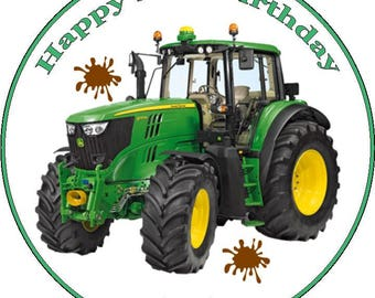"""Tractor Personalised Pre Cut Icing/Rice Paper Cake Topper 7.5"""""""