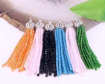 10Pcs Mix Color Crystal Beaded Tassel Pendants Paved CZ Crown Caps Bohemia Tassels Jewelry For Women