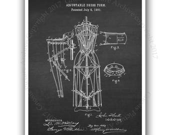 Dress form patent print #3 unframed sewing room decor wall art