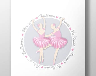 Woman, blade dancer, blade dancer, children's pictures, decor bedroom girls ballerina ballet dancer