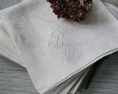 """12 Large Irish Linen Damask White Napkins, B Monogram, Bridal, Wedding, Tea Party, Holiday Party Setting,  27"""" By 27"""", Elegant Table"""