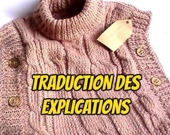 Translation of explanations of the baby vest