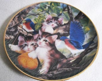 Beautiful collectible-Cats-Franklin mint-spinning a yarn-Craig Sprovach-Vintage CAT/cats collector plate