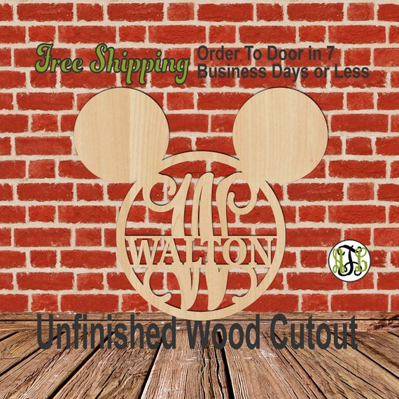Mouse Ears Initial and Name Plate - 105MEMTCF- Personalized Cutout, unfinished, wood cutout, wood craft, laser cut,  DIY, Door Hanger