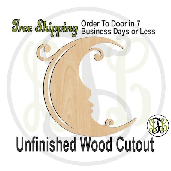 Curly Moon- 300184- Nursery Cutout, unfinished, wood cutout, wood craft, laser cut shape, wood cut out, Door Hanger, wooden, wall art