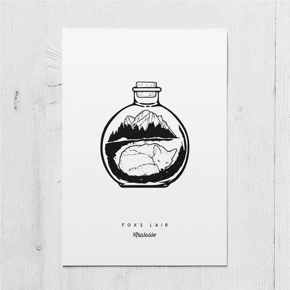 Poster Art Print - Fox's Lair Blackwork Series A5 Size - Fox Lair ...