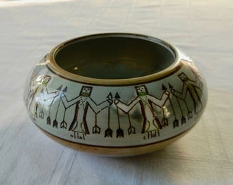 Navajo Style Seed Bowl with Yei Figures - Native American Style Porcelain Small Bowl - Indian Style Porcelain Bowl with Figures and Arrows