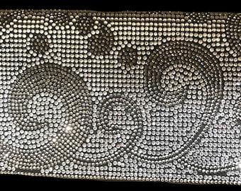 New Silver With Rhinestone Design   Evening Clutch Handbag