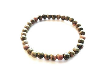 Unakite Stone aka Epidoste Stone Beads in Pink and Green Colors Stretch Bracelet