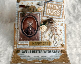 SOLD cat card to ask, handmade, 3D, shabby, size easel.
