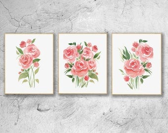 Abstract Pink Roses Watercolor Print, Roses Print Set Of 3, Abstract Flower Wall Decor, Floral Poster,Botanical Home Decor,Roses Wall Art