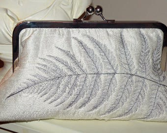 Clutch/Purse/Bag..Bridal..Embroidered Fern Leaf ANY COLOR SCHEME Silver Gold/Plume.. Ivory Silk..Wedding/Bridesmaid Gift..Free Monogram