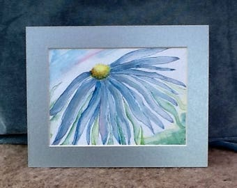 Water colour painting, handpainted picture, garden flowers, flower picture, daisy picture, anniversary gift, blue flower wedding gift