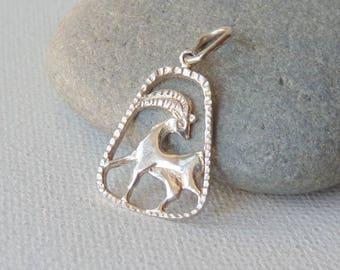 Sterling Silver Capricorn Zodiac Pendant, Capricorn Horoscope Charm, Astrological Capricorn, The Capricorn Zodiac Sign, Constellation Sign
